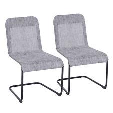 Outsunny Set 4 Sedie da Pranzo Robuste in Textilene Traspirante Imbottito e Telaio in Alluminio per Esterno 55.5x60x86cm Nero