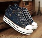New Women Girls Denim Lace Up Sneakers Platform Wedge Muffin Canvas Rivets Shoes