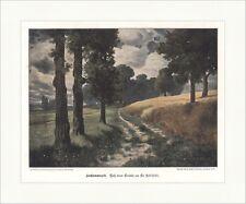 Hochsommerzeit Ed. Rüdisühli Feld Sturm Allee Bäume coloriert Holzstich E 18406