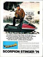 Scorpion Stinger 74 Model Snowmobile Machine Chuck Connors 1973 Vintage Print Ad