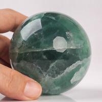 568g 70mm Large Natural Green Fluorite Quartz Crystal Sphere Healing Ball Chakra