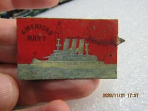 Awesome Antique Rare Tobacco Chew Cigarette Tag Tin American Navy Ship (20k2)