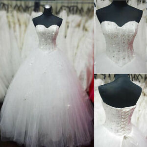Beading Sweetheart Wedding Dress Ball Gown Tulle Bridal Dress Custom Plus Size