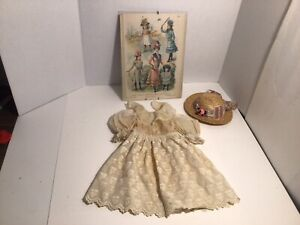 Vintage Cotton Blend Doll Dress With Hat - Needs Attention