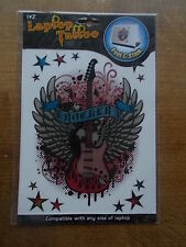 """Laptop Peel & Stick Tattoo """"Rocker Wings"""" and Electric GUITAR Fit Any Size BNWT"""