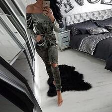 Women Warm Crushed Velvet Playsuit Cocktai Evening Party Mini Dress Casual Suit