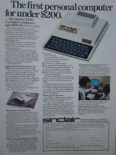 12/1980 PUB SINCLAIR RESEARCH ZX80 PERSONAL COMPUTER PC BASIC ORIGINAL AD
