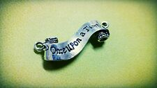 Quote Pendant Connector Antiqued Silver Word Charm ONCE UPON A TIME Fairy Tale