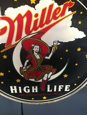 (Vtg) Miller high life beer girl on moon back bar light up sign game room rare