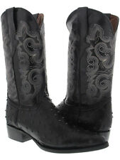 Men's Black Ostrich Design Western Wear Leather Cowboy Boots  Pointed Toe