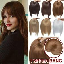 US 100% Real Clip in as Human Hair Extensions Fringe Bangs (Thick Topper) Piece