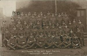 WW1 soldier group C Coy 52nd Battalion Royal Fusiliers Newmarket 1919