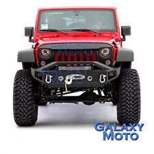 """07-17 Wrangler JK Stubby Front Bumper+21"""" LED Light Bar+2x LED Light+Winch Plate"""
