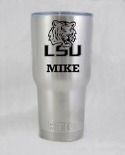 RTIC  Ramble 30 oz LSU Tigers stainless  cup tumbler laser engraved custom
