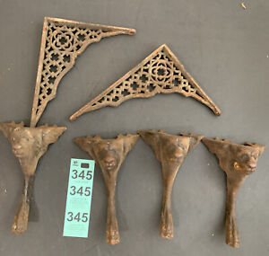 Antique Ornate Cast Iron Shelf Plant Brackets With Cast Animal Head Wall Accents
