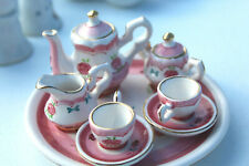 Vintage Child's Tea Set 10 Pieces Pink Flowers Made In Hong Kong H2