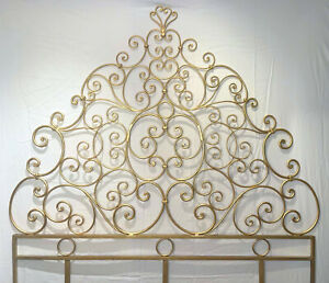 Antique Early 20th Century Italian Baroque Style Wrought Iron Queen Headboard