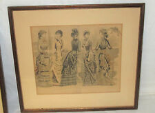 Antique 1882 Petersons Magazine Fashion Print FIRST FINE DAY 14X15