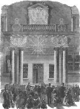 LONDON. Peace lights. French Embassy, Albert Gate, antique print, 1856