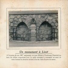 PHOTO PRESSE 1911 - Pressbourg Inauguration Monument Compositeur Liszt - 247
