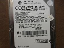 """Hitachi HTS545025B9SA02 PN:0A76052 DCM:DA3190 Apple#655-1538B 250gb 2.5"""" Sata HD"""
