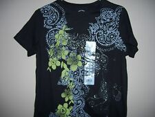 White Stag Womens Size Small (4-6) Multi-Color Black T-Shirt NWT