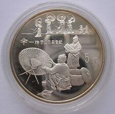 """CHINA  5 YUAN - """"SCHIRMHERSTELLUNG"""" - 1993(PP) PROOR, SILBER"""
