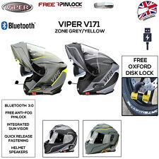 VIPER RS-V171 BLUETOOTH HELMET MOTORBIKE MOTORCYCLE FLIP UP HI-VIS GREY ZONE NEW