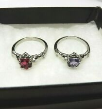 Boxed Set Of 2 Women's Size 9 Spinel + Amethyst .925 Silver Claddagh Rings