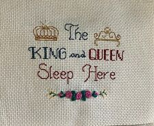 Completed Finished Cross Stitch, The King And Queen Sleep Here