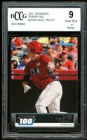 2011 Bowman Topps 100 #TP90 Mike Trout Rookie Card BGS BCCG 9 Near Mint+