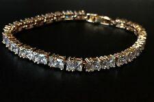 """18K Gold Tennis Bracelet made w/ Swarovski Crystal Clear Stone Trendy Jewel 7""""+1"""