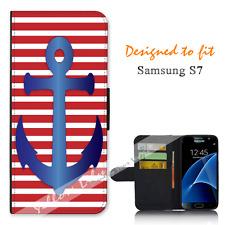 Samsung Galaxy S7 Wallet Flip Phone Case Cover USA Anchor Y00982