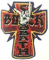 BLACK SABBATH - Cross Devil Horns - Shaped WOVEN Giant BACKPATCH Dio Rare