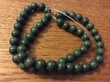 JADE DYED  OLIVE GREEN  GEMSTONE BEADS approx 39 cm string x 8mm
