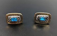 Vintage Oro Y Plata tono pendientes de Tornillo Rhinestone Azul Firmado Napier