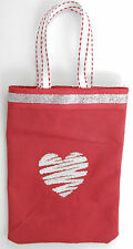 Silver Heart on Red CanvasTreat Bag for Children's Party Favor Bags or Purse