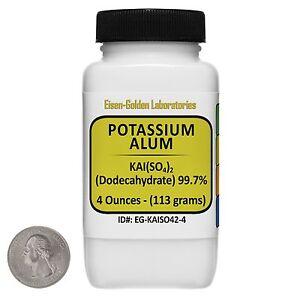Potassium Alum [KAl(SO4)2] 99.7% ACS Grade Powder 4 Oz in a Plastic Bottle USA