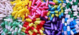 30 100 500 Sizes 00 to 5 Empty GELATINE CAPSULES Coloured Medicine Vitamin Pills