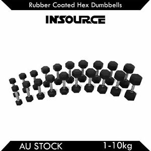 1-10kg Pair Rubber Hex Dumbbells Fitness Home Gym Strength Weight Training