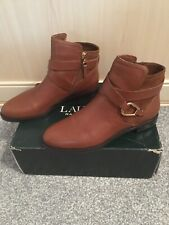Ralph Lauren Ladies Brown Leather Boots Size 5 Immaculate Condition