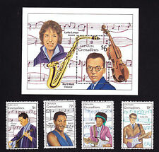 Mini sheet & Four stamps Grenada Music Famous Musicians Jimi Hendrix Buddy Holly