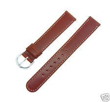 18mm LONG SIZE Brown Smooth Oiled Genuine Leather Stitched Watchband