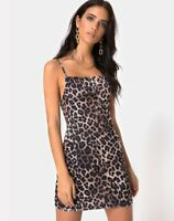 MOTEL ROCKS Sekina Dress in Velvet Brown Leopard Small S   (mr24)
