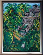 Felix S. Pfefferkorn *1945: Culture Lost Azteken-Tempel Urwald Acryl 80 x 60 cm