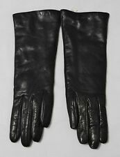 Neiman Marcus Long Black Nappa Leather/Cashmere Lined Ladies Gloves Size 7 Italy