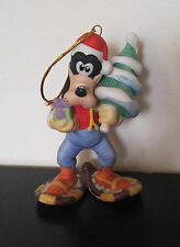 Vintage Disney Goofy w Snow Shoes & Tree Ceramic Christmas Ornament KOREA