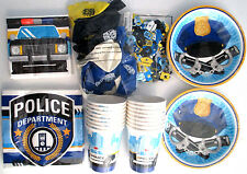 POLICE PARTY Birthday Party Supply DELUXE Kit w/25 Balloons,Confetti &Tablecover