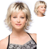 Short Curly Wigs Blonde Bob Fluffy Hair Wigs with Bangs Natural Daily Party Wig