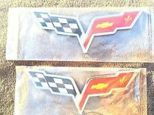 X2 Cross Flags 2X CORVETTE chevrolet CAR TRUCK EMBLEM LOGO DECAL SIGN CHROME ,Tr